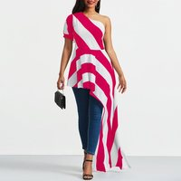 Women Blouse Shirt Pink Striped One Shoulder Sexy Top Asymmetric Long Ruffles Design Street Fashion Female Summer Casual Blouses