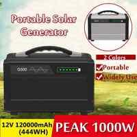 1000W Max 120000mAh Inverter Portable Solar Generator UPS Pure Sine Wave Power Supply USB LCD Display Energy Storage Outdoor