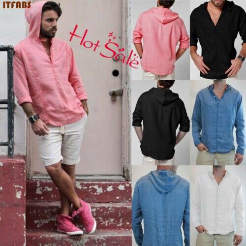 100% QualitäT 2019 Fashion Frühling Männer Casual Mit Kapuze Dünnes Hemd Casual V-ausschnitt Langarm Solid Volle Hülse Shirt