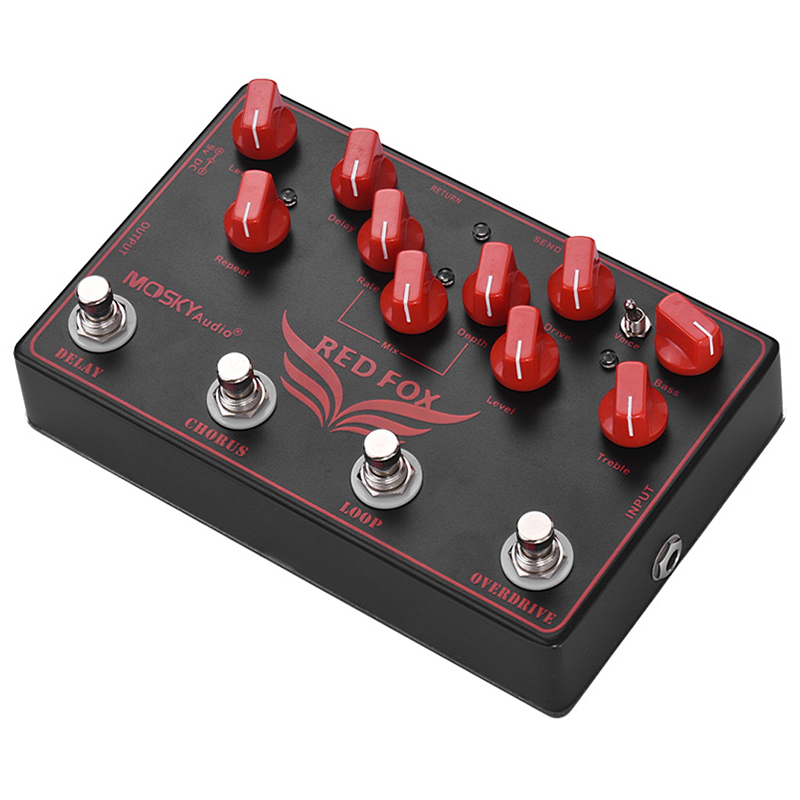 mosky red fox 4 in 1 electric guitar effects pedal delay chorus loop overdrive guitar. Black Bedroom Furniture Sets. Home Design Ideas
