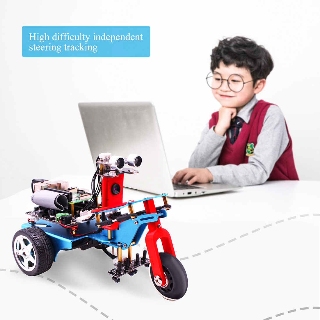 For Raspberry Pi 4/1G TrikeBot Smart Robot Car Programmable Learning  Camera Video DIY Robot Kit Electronic Toys Kids Adults