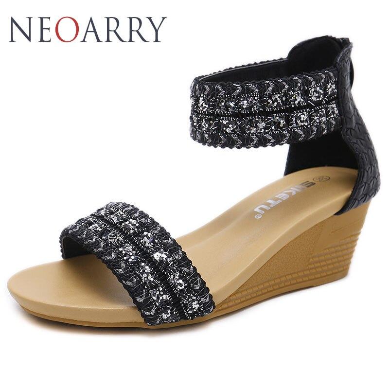 eade6492e Dedo Brillo Tobillo Neoarry Cuñas Verano De Playa Cremallera Abierto Tacones  Zapatos 2019 Mujer Moda W82 ...