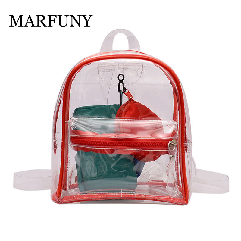 Small Fashion Transparent Women Backpacks Clear PVC Teenager Girls Zipper Student School Backpack Travel Bag Mochila FemininaSmall Fashion Transparent Women Backpacks Clear PVC Teenager Girls Zipper Student School Backpack Travel Bag Mochila Feminina