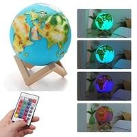 3D Print Globe Light Moon Lamp Colorful Change Touch Usb Led Night Light Home Decor Creative Gift