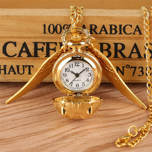 Golden Snitch Ball Pendant Pocket Watch Gifts for Kids Quartz Necklace Clock Lovely Cute Fob Pocket Clock reloj de bolsillo