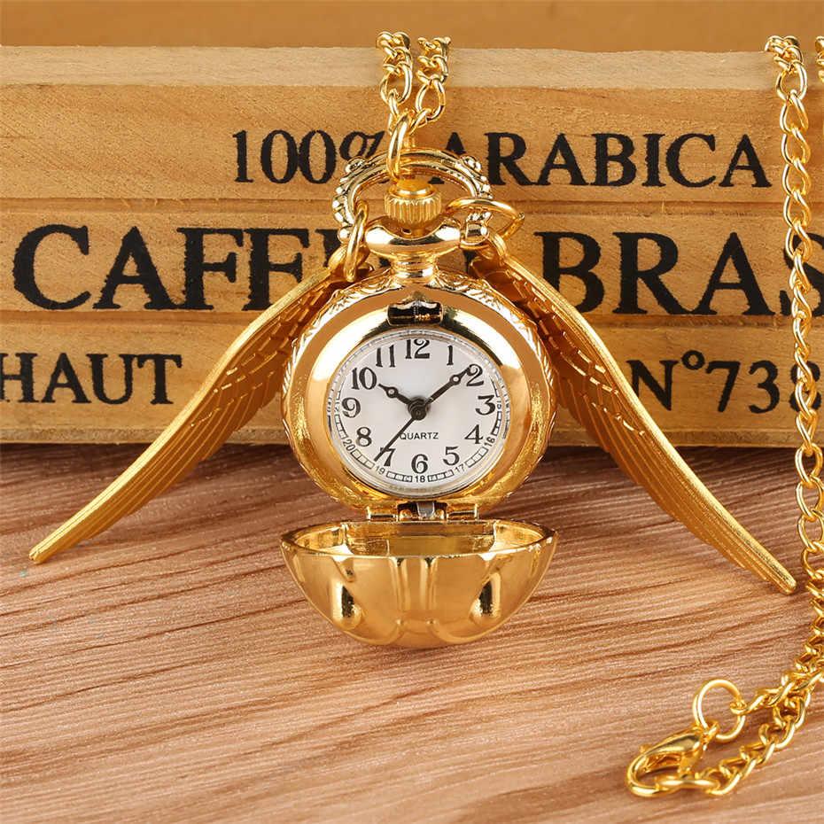 Or Snitch balle pendentif montre de poche cadeaux pour enfants Quartz collier horloge belle mignon Fob poche horloge reloj de bolsillo