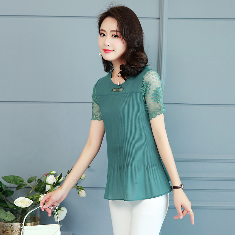 2019 Summer Top and Blouses Women Plus Size Clothes Red Green Yellow Pink Pleated Top Patchwork Lace Chiffon Peplum Top 5XL 4XL 6
