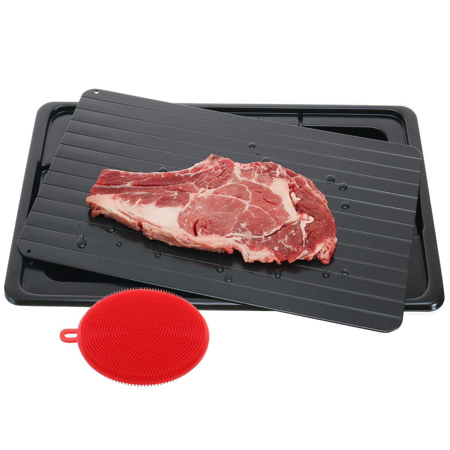 Defrosting Tray Frozen Food Thawing Plate For Fast Quick Rapid Meat Defrosting Chicken The Safest No Electricity No MicrowaDefrosting Tray Frozen Food Thawing Plate For Fast Quick Rapid Meat Defrosting Chicken The Safest No Electricity No Microwa