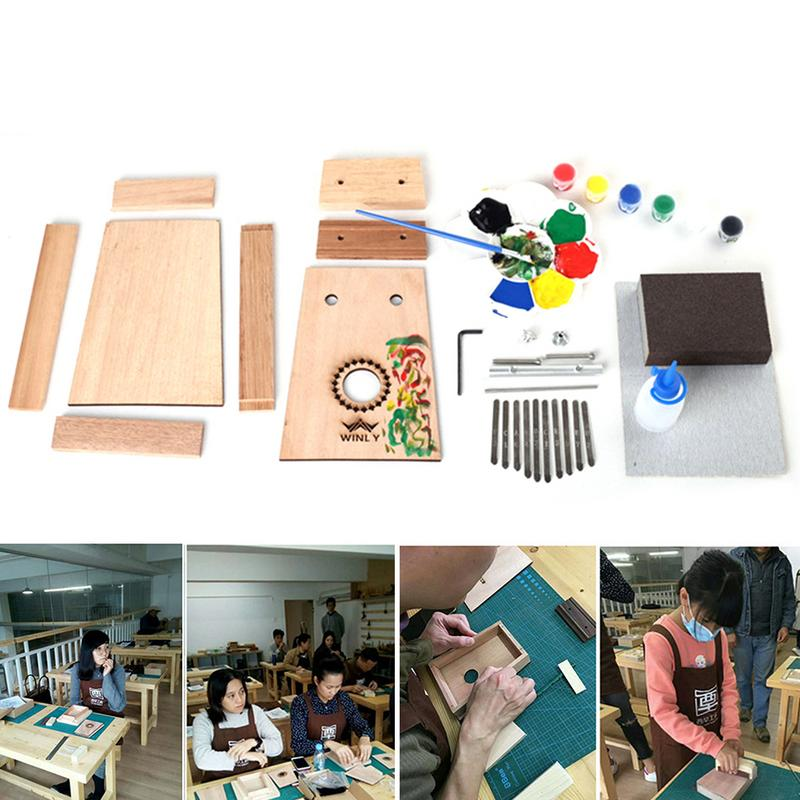 DIY Thumb Homemade Kalimba Piano 10 Tone Gift For Children's Wooden Colored Paint Finger Piano Home Made Music Instrument