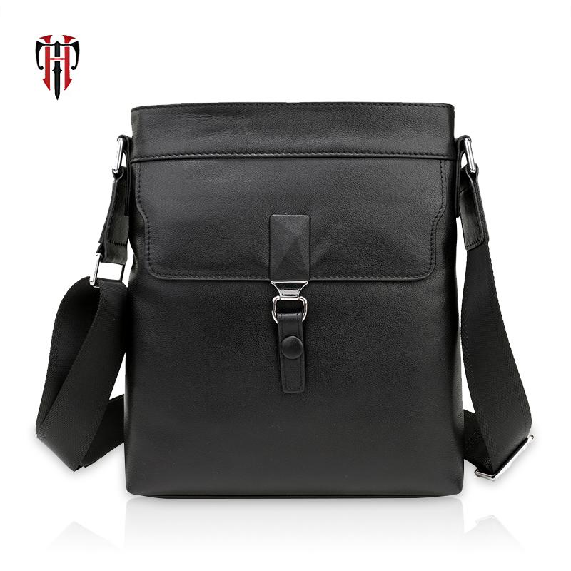 TIANHOO messenger bag men genuine leather bags fashion lock crossbody & flap shoulder bag book/PAD pockets for man