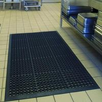 Bar Kitchen Industrial Multi functional Anti fatigue Drainage Rubber Non slip Hexagonal Mat 150*90cm Non slip Easy To Clean