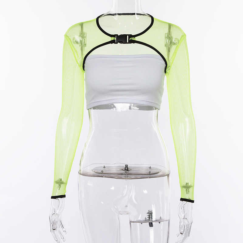 fda6e4ffb6cacb ... BOOFEENAA Neon Green Mesh Crop Top Buckle Tie Front Long Sleeve T-shirt  for Women ...