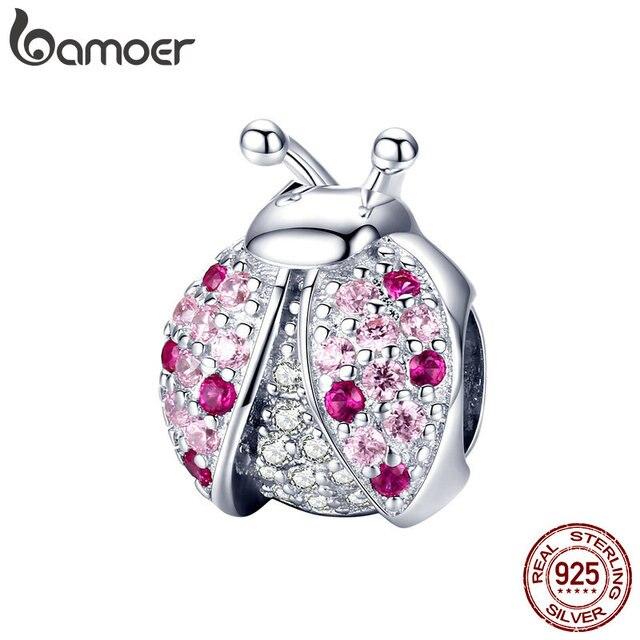 BAMOER Nova Chegada Inseto Joaninha Rosa Cubic Zircon 925 Prata Esterlina Encantos Beads fit para Pulseiras DIY Jóias SCC1120