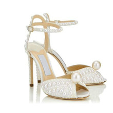 2019 White Sexy Sandals Women Luxury Pearl Studded High Heels Shoes Stilettos Fashion Woman Peep Toe Ankle Buckle Roman Sandals цены