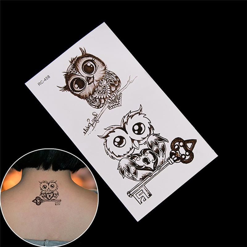 <font><b>2018</b></font> NEW Cute Owl Pattern Temporary Tattoo Sticker Waterproof Decals Fake tatoo Art Taty Women's Tattoo Sticker image