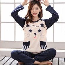 Womens Pajamas Sets Long sleeve 100% cotton pajamas suit Women spring cartoon casual sleepwear long Pyjamas for women XXXL