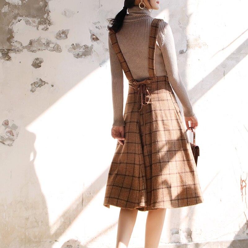 Japan Mori Girl Sundress Autumn Korean Fashion Women Sleeveless Vest Brown Plaid Woolen Winter Dresses Spaghetti Strap Vestidos 16
