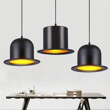 Artpad Modern European Black Top Hat Pendant Light E27 Aluminium LED Lamp For Kitchen Coffee Bar Fixtures