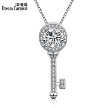 DreamCarnival 1989 Silver Key Pendant Cubic Zircon 925 Chain Necklace Gift for Lover Anniversary Party Love Symbol Lock SZ10553(China)