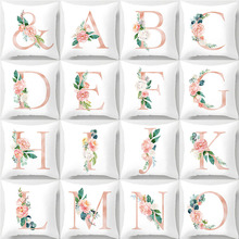 Fashion 26 English Letter Cushion Cover Ins Flower Cotton Car Home Decorative Accessories 45x45cm