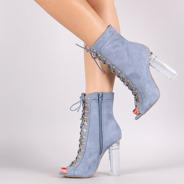 Carole Levy Sexy Open toe Super High Heels Women Shoes Fashion Denim Blue Cross Tied Lace up Size 34-45 For Ladies Party Shoe