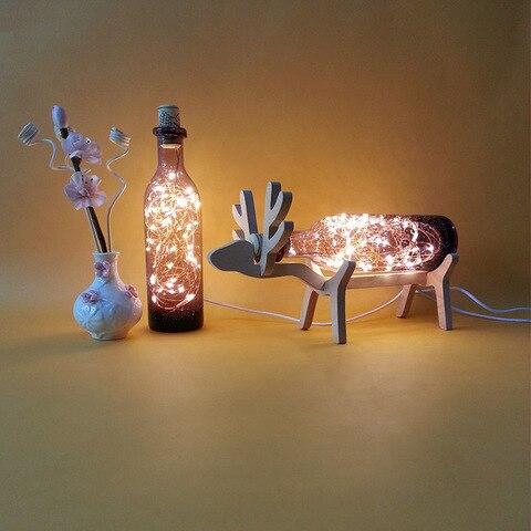 nordic criativo madeira cervos lampada led luzes