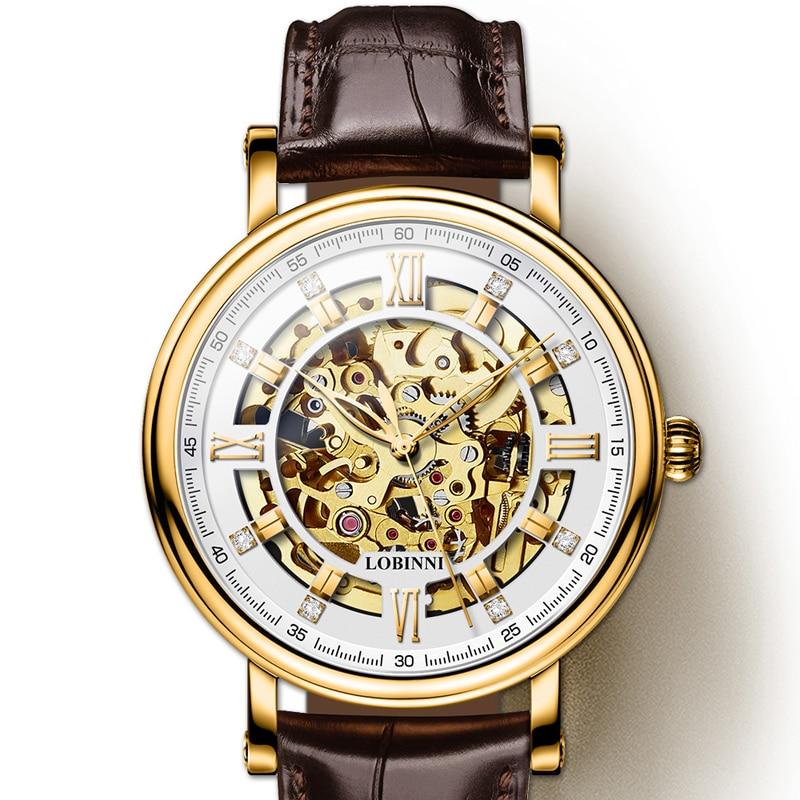 Japan Miyota Movement Watch Men LOBINNI Automatic Mechanical Men Watches Luxury Brand Tourbillon Skeleton reloj hombre
