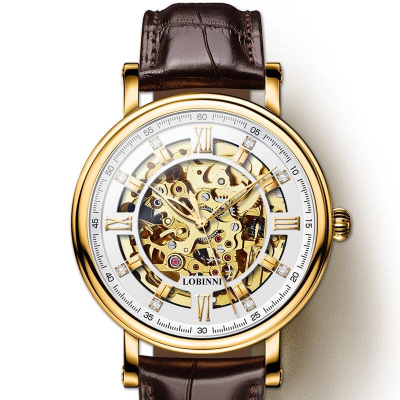 Japon Miyota montre de mouvement Hommes LOBINNI Automatique Mécanique montre pour homme Marque De Luxe Tourbillon Squelette reloj hombre L9010