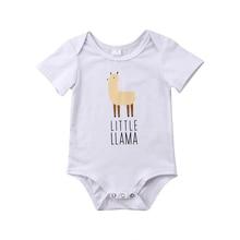 Little Alpaca Print Short sleeve Baby Girl Bodysuit