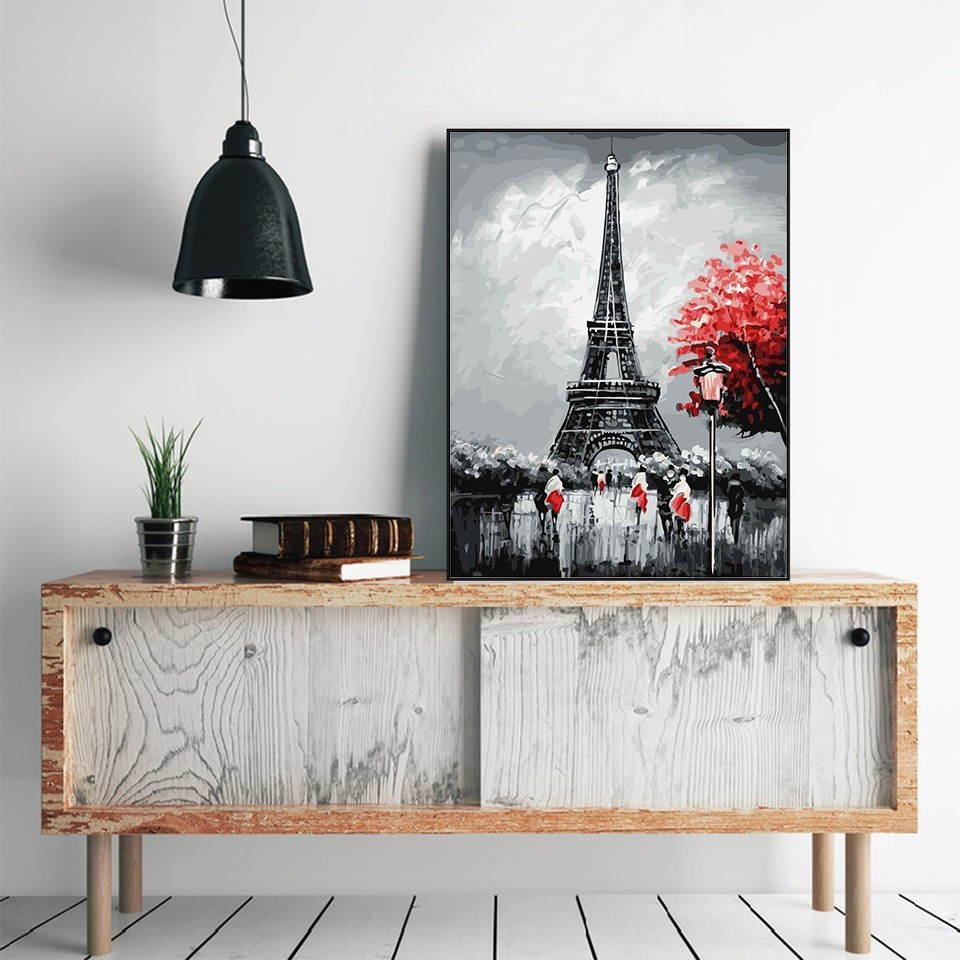 Oil Painting Eiffel Tower By Number City Corner Paint Canvas Picture DIY Scenery