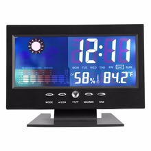 Цифровой ЖК-термометр гигрометр электронный измеритель температуры и влажности Метеостанция Будильник Голосовое управление