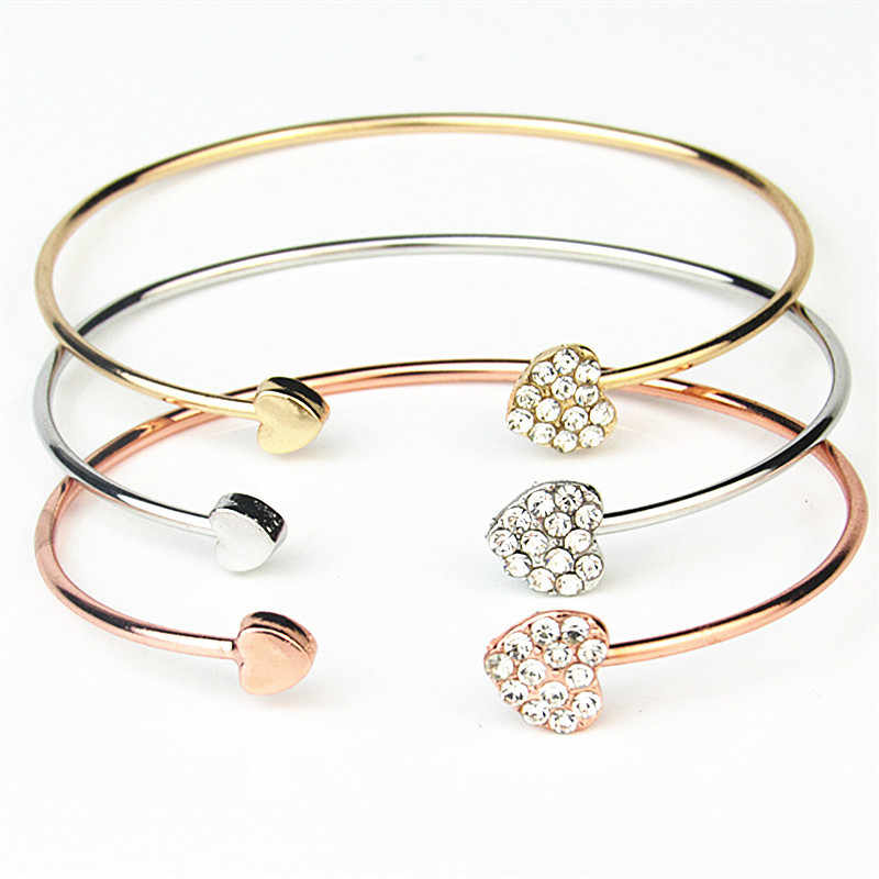 Adjustable Opening Bracelet Women Jewelry Silver Crystal Double Heart Bow Cuff For Women Bracelets Bangles Female Love Bracelet
