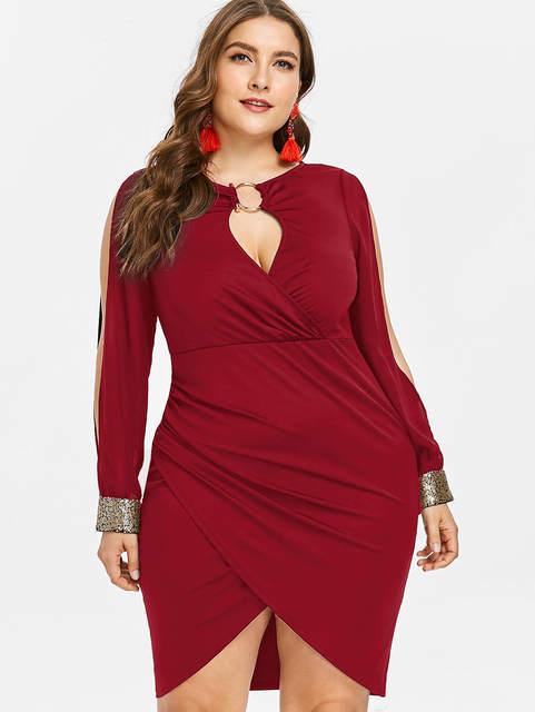 dea21bd745 AZULINA Plus Size Dress Women Keyhole Neck Sequined Slit Bodycon Dress  Spring Autumn Party Dresses OL Club Dresses Vestidos 5XL