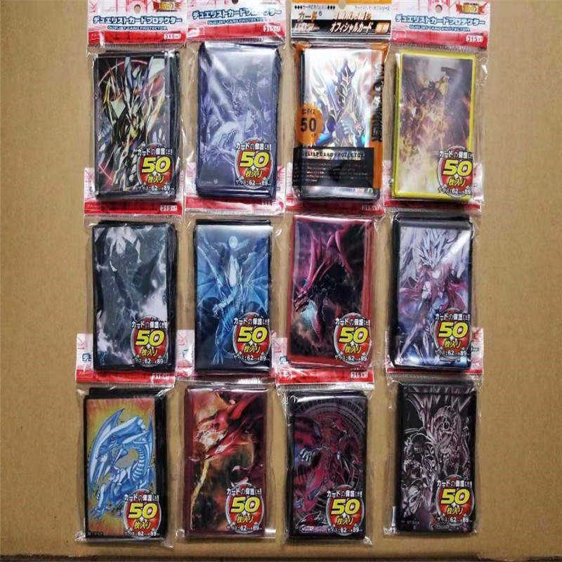 50pcs/lot yu-gi-oh cards sleeves set anime yugioh cosplay emperor dragon dark dark magician girl board games duelist protector image