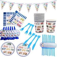 Taoup Happy Birthday Party Table Decor Supplies Baby Truck Car Disposable Tableware Blue Tablecloth Cups Plates Banners Straws(China)