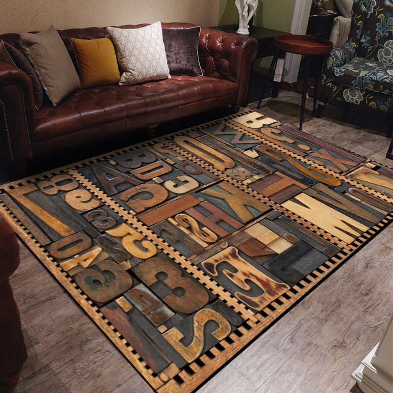 Letter Carving Printed Carpets Rugs