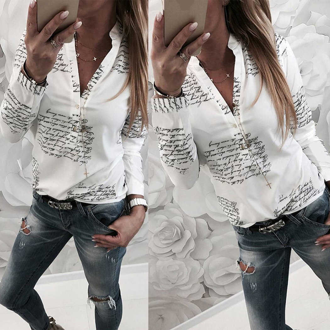 Women Letter Printed   Shirt   Winter Spring V-Neck Long Sleeve Women   Shirt   2019 Plus Size S-3XL Casual   Blouse     Shirts