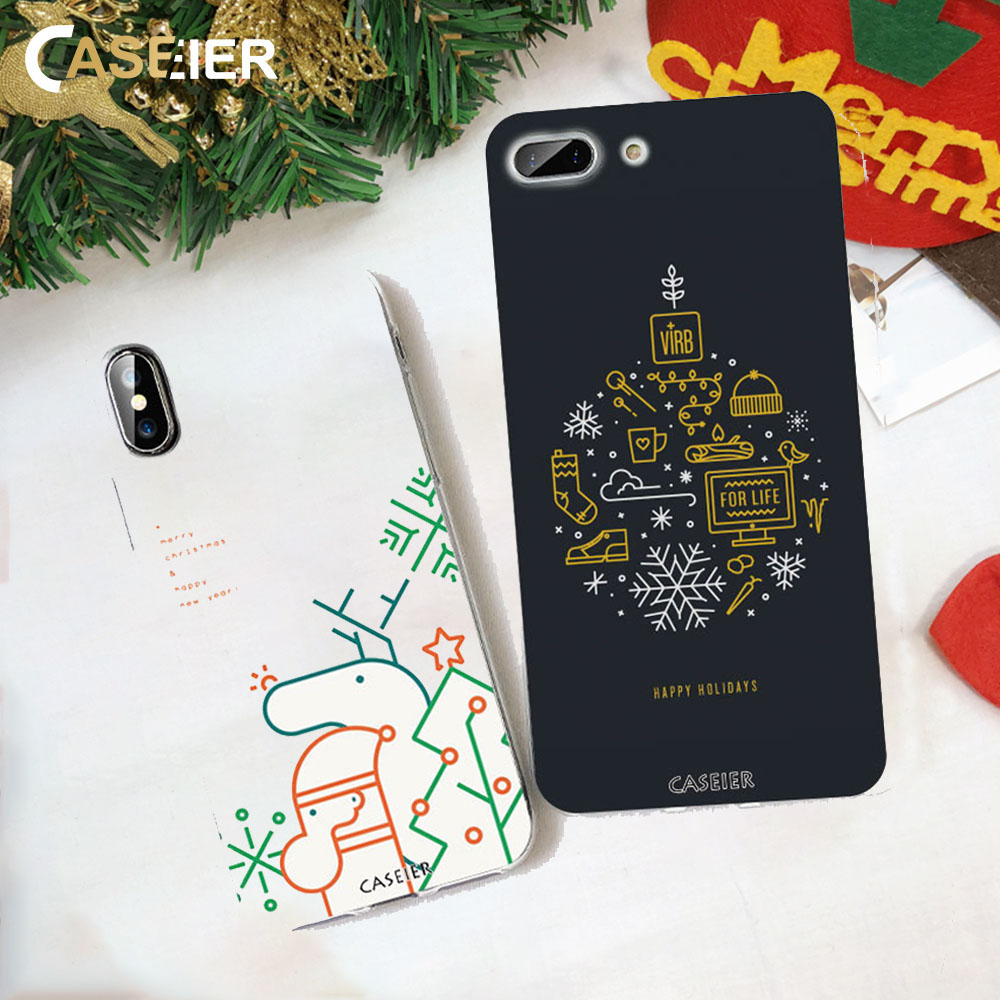 CASEIER Christmas Pattern Phone Case For iPhone 7 8 6 6S Plus Soft Silicone Funda X XS MAX XR Shell Couque Accesories
