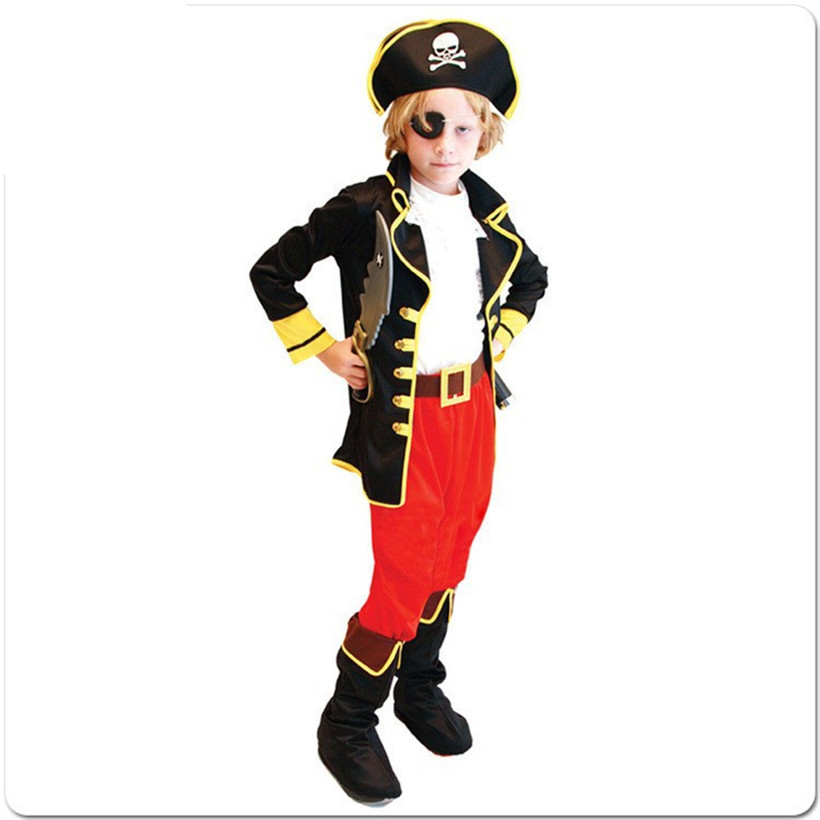2019 SS Boys Pirate Cosplay Halloween Pirate Capain Jack Costume 3-11 Years Boys Halloween Christmas Carnival Fancy Dress