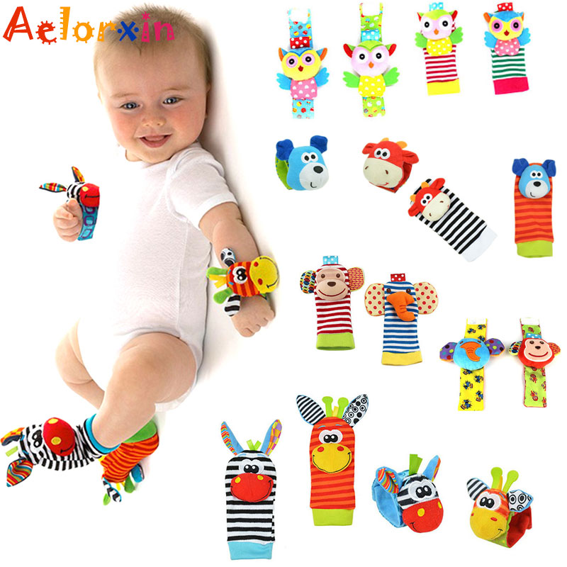 Cute Cartoon Animal Toy Soft Socks Wrist Strap Set Baby Boys Girls Rattle  Children Infant Newborn Plush Toys Baby Kids Toys