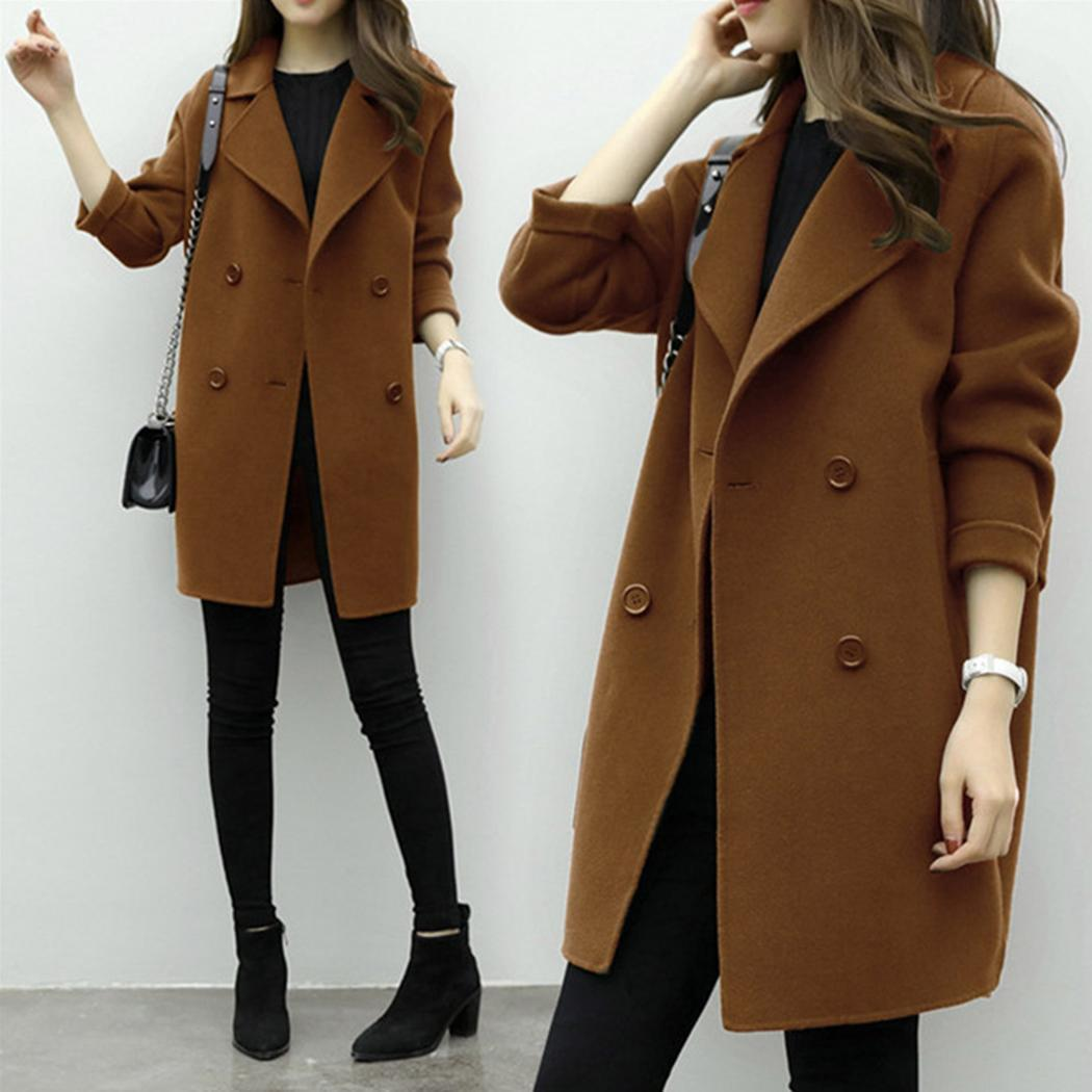 Women Casual Notched Collar Long Sleeve Side Split, Back Strap Solid Button Outwear   Coat   Autumn, Winter