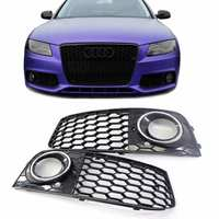 1Pair Fog Light Grills only For 09 12 for Audi A4 B8 RS4 Style Honeycomb Mesh Fog Light Open Vent Grille intake in Racing Grills