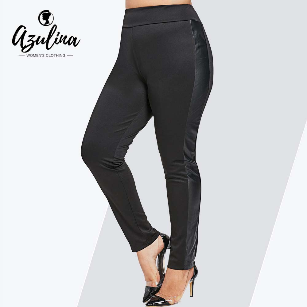 Rosegal Plus Size PU   Leggings   Faux Leather Skinny High Elastic Waist Black Pencil Pants Female Sexy   Leggings   New Casual Trousers