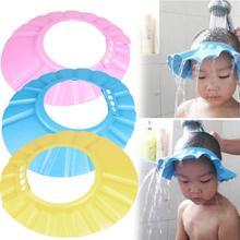 Шапочка для ванны и шампуня для детей шапочка для защиты от попадания воды в глаза Регулируемая синяя желтая розовая однотонная шапочка для...