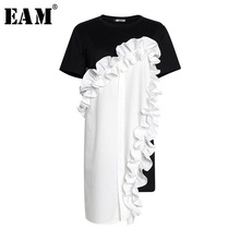 [EAM] 2019 New Spring Summer Round Neck Short Sleeve Black Loose Ruffles Three-dimensional Dress Women Fashion JR674