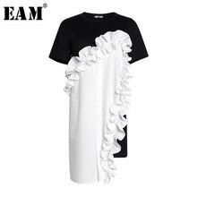 [EAM] 2020 nowa wiosna lato wokół szyi, krótki rękaw czarny luźne falbany trójwymiarowy luźna sukienka kobiety moda JR674