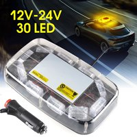 Amber Yellow 12V 24V 30 LED Car Roof Flashing Strobe Emergency Light Bar Mini Warning Beacons Lights Lighting lamp
