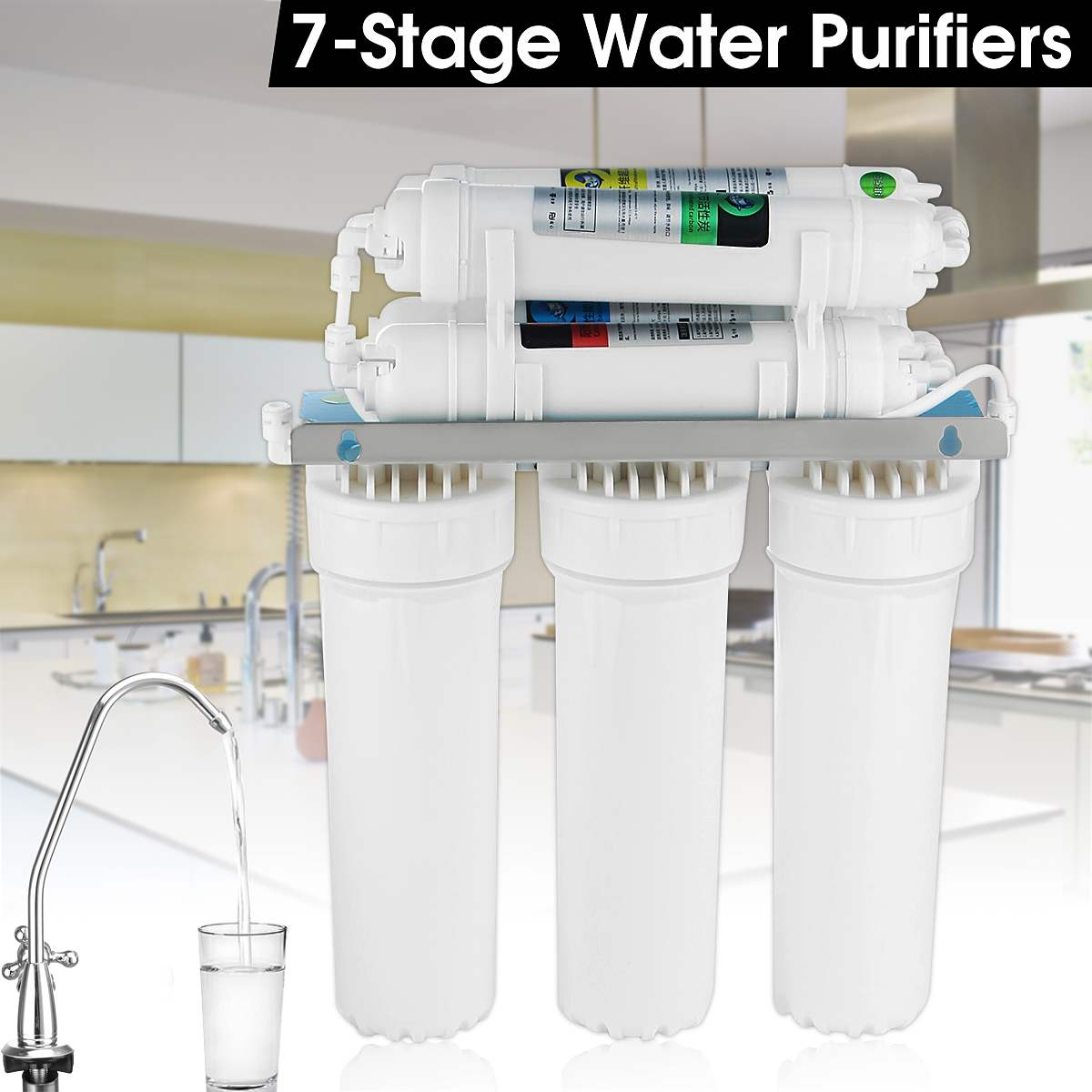 7 Stage Water Filter font b System b font with Faucet Valve Water Pipe Home Kitchen