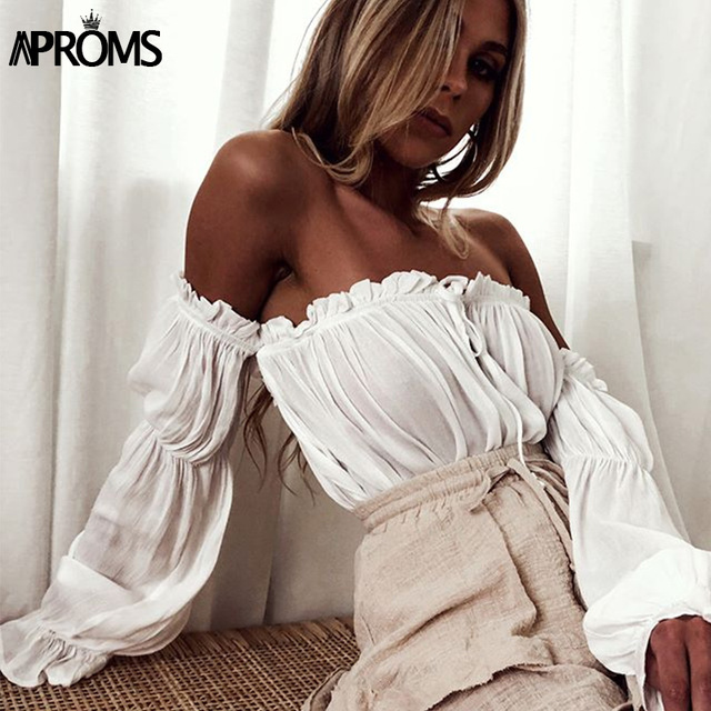 5440ab396b0 Aproms White Off Shoulder Cotton Tank Tops Sexy Flare Sleeve Bow Tie Front Camis  Women Crop