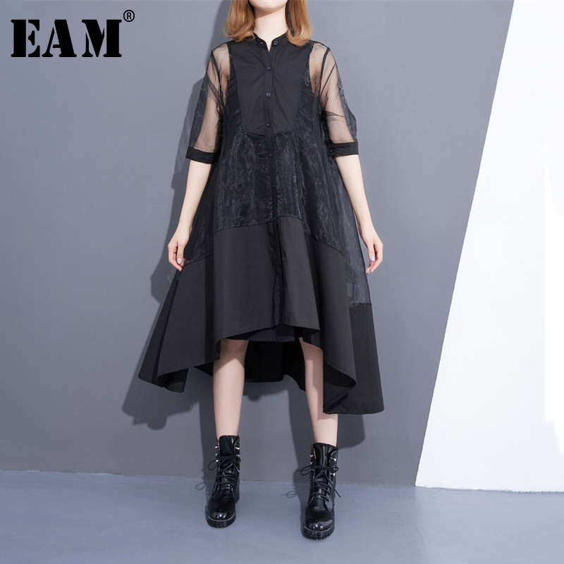 [EAM] 2020 New Summer Stand Collar Three-quarter Sleeve Black Oragnza Mesh Stitch Loose Two Piece  Dress Women Fashion T456